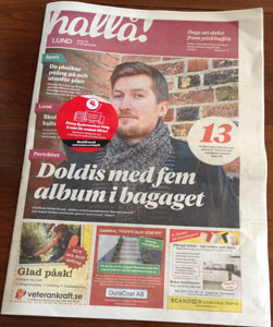 Cover of local newspaper Hallå Lund with big photo of Stefan Strand